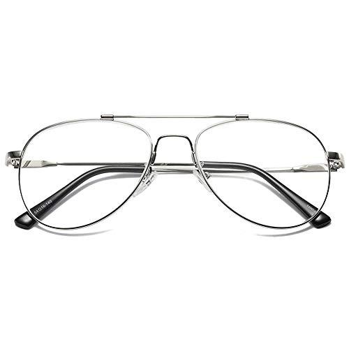 VEVESMUNDO Lesebrille Metall Herren Damen Groß Klar Fensterglas Klassische Moderne Arbeitsplatzbrille Lesehilfe Sehhilfe Brillen Pilotenbrille Hornbrille mit sehstärke (Silber, 2.0)