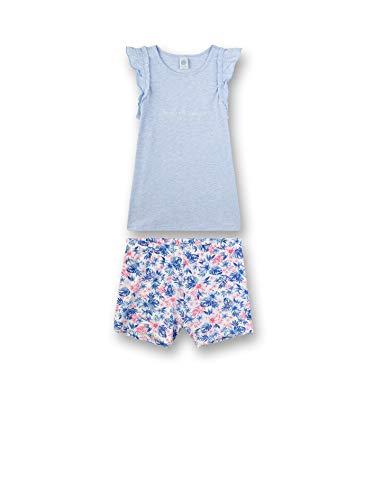 Sanetta Mädchen kurzer Pyjama Zweiteiliger Schlafanzug, Blau (Bleu Melange 50240), (Herstellergröße: 140)