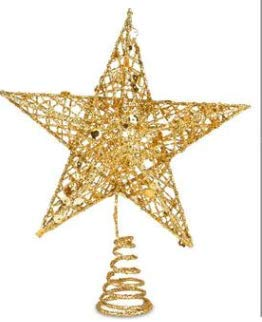 MENOLY 1 Pack 8 Inches Metal Christmas Treetop Gold Christmas Decoration Glittered Tree-top Star Hollow Wire Glitter Home Decor Christmas Tree Decoration for Party Home Decoration Star Ornament