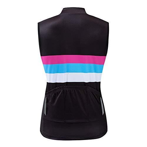 WOSAWE Damen Fahrradweste Atmungsaktive und Winddichte Bekleidung Triathlon Vest Sommer Ärmelloses Frauen Die Jersey (Color Shine S) - 3