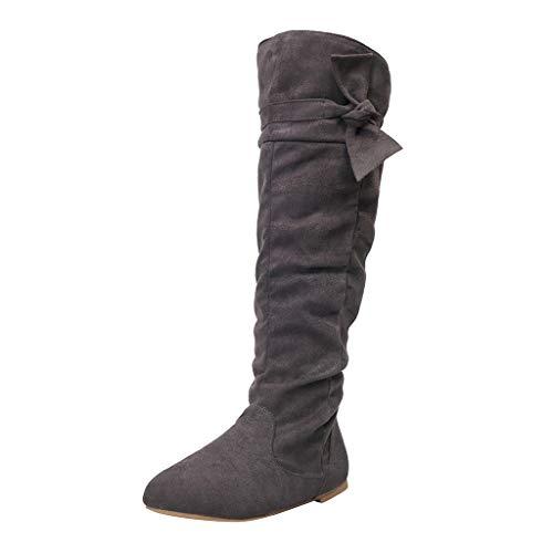 Damen Stiefeletten FGHYH Damenmode Lässig Schöne Geknotete Kniehohe Lange Stiefel Flache Schuhe(42, Dunkelgrau)