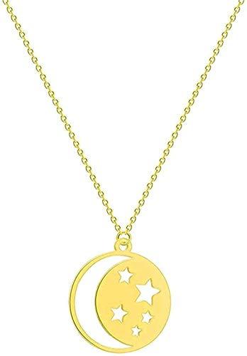 BEISUOSIBYW Co.,Ltd Collar de Acero Inoxidable para Mujer, Collar de Media Luna, Girasol, Infinito, Telar, León, Paloma, Colgante, Collar de Amor, Collar