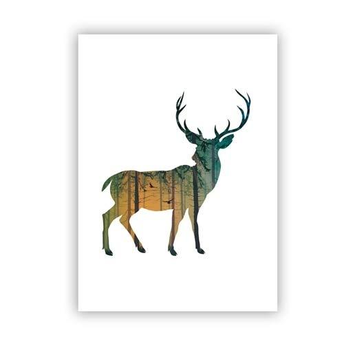 Geiqianjiumai Deer Familie Silhouette mit Leinwand Kunstdruck Poster Kiefernwald Dekoration Tier Wanddekoration Wandbild rahmenlose Malerei 50X70cm