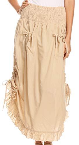 Sakkas 3118 - Coco Long Cotton Ruffle Rock mit Taschen und elastischem Bund - Beige - OS