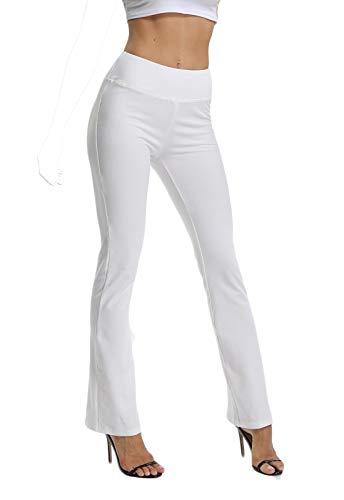 Pantalones De Yoga Sueltos Cintura Alta Mujer Pantalones Largos Deportivos Suaves y Cómodos Blanco Large