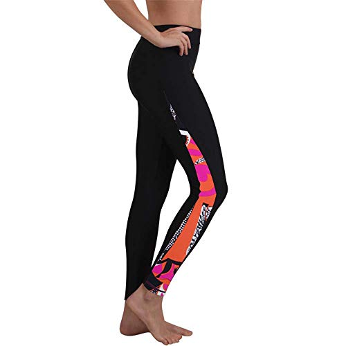 Women's Wetsuit Pants Diving Surfing Leggings Swimming Tights UPF 50+Yoga Pants Pants UV Sun Protective Long Active Sport Tights (XX-Large, Black Abstract Print)