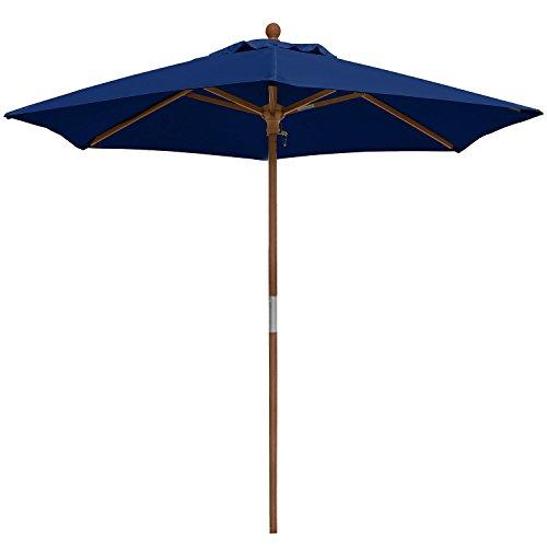 anndora Sonnenschirm 2,1 m rund Balkonschirm Gartenschirm - Winddach Navy Blau