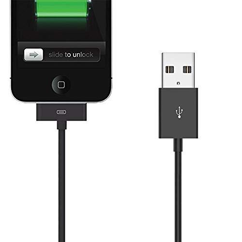 Cable USB de sincronización y carga para iPhone 4S, 4, 3G, 3GS, iPad 1, 2, 3, iPod, color negro