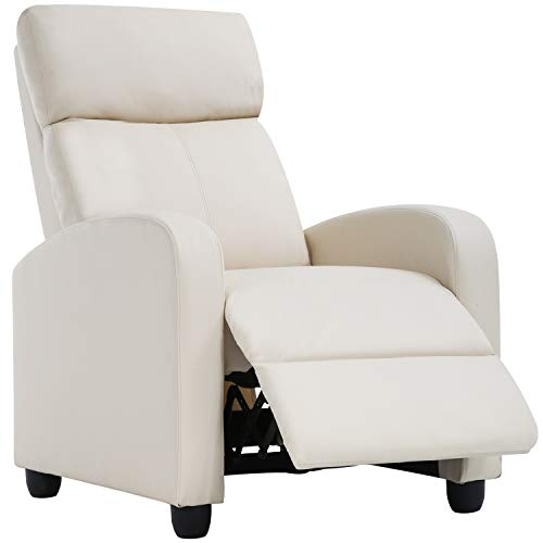 Recliner Chair for Living Room Recliner Sofa Reading Chair Winback Single Sofa Home Theater Seating Modern Reclining Chair Easy Lounge with PU Leather Padded Seat Backrest(Beige)