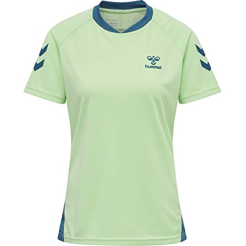 Hummel Womens hmlAction Jersey S/S Womens - Sudadera para Mujer, Color Verde, Azul y Coral, Talla XS