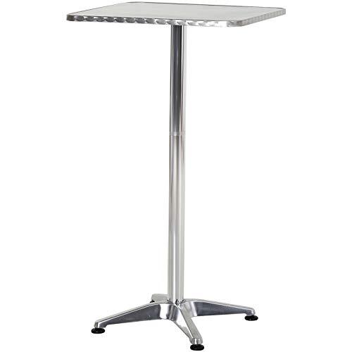 homcom Tavolino Bar/Ristorante in Acciaio Inox, Tavolo con Piano Appoggio Quadrato 60x60cm e Altezza Regolabile 70-110cm