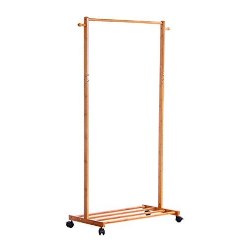 Porte-manteau de sol, multi-fonctionnel simple cintre sol-debout cintre salon enfants cintre chambre bambou étagère assemblée vêtements rack ( Color : Wood color , Size : 38*80*165cm )