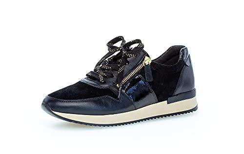Gabor Damen Low-Top Sneaker, Frauen Sneaker Low,Women's,Lady,Ladies,Halbschuhe,straßenschuhe,Strassenschuhe,Turnschuhe,schwarz (Gold),40 EU / 6.5 UK