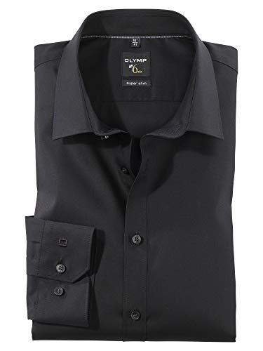Herren Hemd No. 6 Super Slim Fit Langarm Schwarz Gr. 41