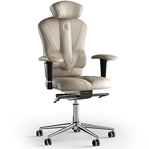 KULIK SYSTEM Victory - Silla de escritorio para ordenador con respaldo y cojín de asiento ergonómico patentado, silla de oficina ergonómica, piel (beige)