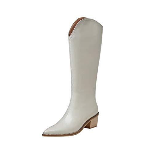 TinaCus Women's Handmade Genuine Leather Pointed Toe Comfort Mid Block Heel Side Half Zip Up Cowboy Knee High Boots (beige, US10.5)