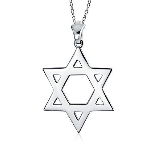 Gran Hanukkah Estrella De David Magen Colgante Collar Judías Para Hombres Y Para Mujer De Plata Esterlina 925 Pulido