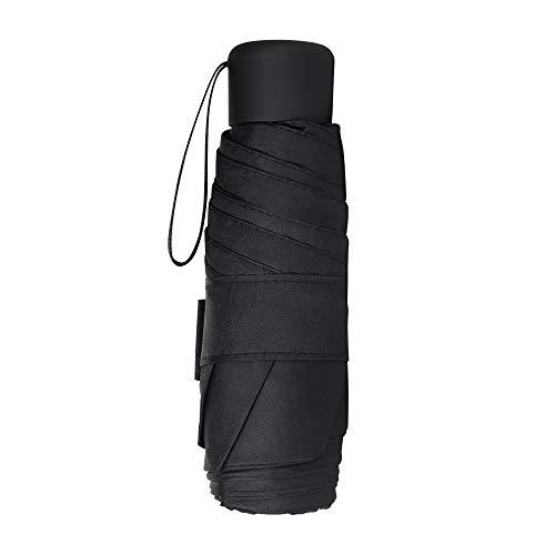 Vicloon Mini Regenschirm, Pocket Taschenschirm mit 6 Edelstahl Rippen, Sonnenschutz Regenschirm, Freien UV Faltender Regenschirm, Klein, Leicht, UV-Faltender für Erwachsene und Kinder - Schwarz