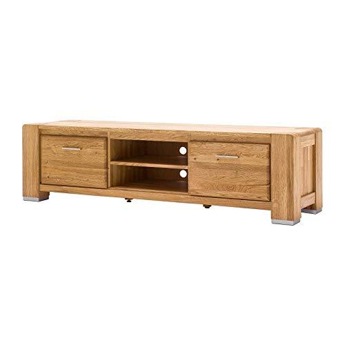 MÖBEL IDEAL Lowboard Wildeiche Massivholz Schrank Eiche Massiv B185 x T55 x H51 cm Natur geölt