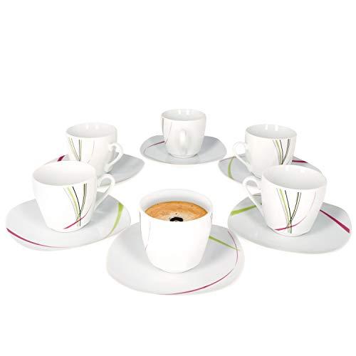 Van Well I 12-TLG. Espressotassen-Set Fashion I 6 Personen I 6X kleine Porzellan-Tassen 80-110 ml + 6X Unterteller I abstrakte Streifen pink-grün-grau-schwarz I Porzellan-Geschirr