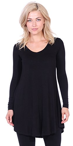 Popana Women's Tunic Tops for Leggings Long Sleeve Shirt Plus Size Made in USA