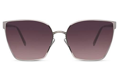 Cheapass Occhiali da Sole Larghi Pentagonali d'Argento Metallici Stile da Donna con Lenti Gradienti UV400 protetti