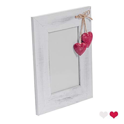 """Nicola Spring Bilderrahmen mit roten Herzen - Holz - Weiß - 10 x 15 cm (4 x 6"""")"""