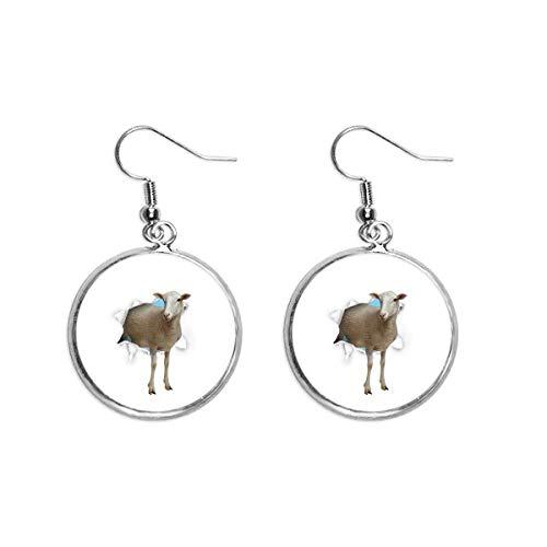 Pendientes colgantes de plata con diseño de oveja con forma de rotura de papel de animal