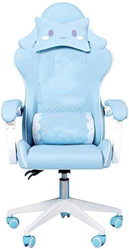 YONGYONGCHONG Silla de oficina para juegos y niñas, sillón de ordenador con dibujos animados para oficina, hogar, silla de masaje giratoria, silla ajustable para el hogar (color azul, sin reposapiés)