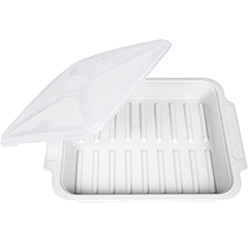 """MUGOOLER Microwave Easy Bacon Maker/Cooker with Lid, Safety, Quick and with No Mess, 11.3"""" L x 9.0"""" W x 2.4"""" H, White"""