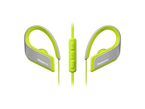 Panasonic RP-BTS35E-Y Auriculares Bluetooth Deportivos (Impermeables, Uso Cómodo y Ultraligero, Batería Duradera, Cancelación de Ruido, Carga rápida, Micrófono y Manos Libres), Color Amarillo, 16 cm