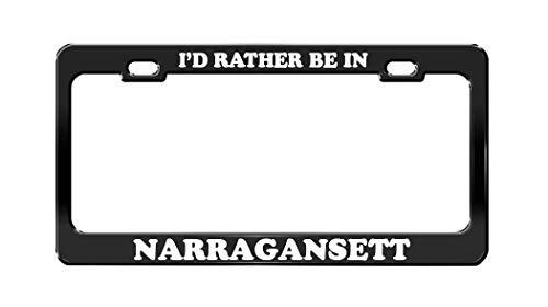 HFEUWgkfelsnsoaf I'd Rather BE in Narragansett Phode Island Beach Black License Plate Frame