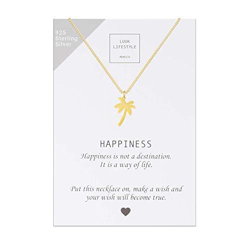 LUUK LIFESTYLE Argento Sterling 925, collana con ciondolo a forma di palma e biglietto regalo con frase Happiness, portafortuna, Gioielli donna, gift card, oro