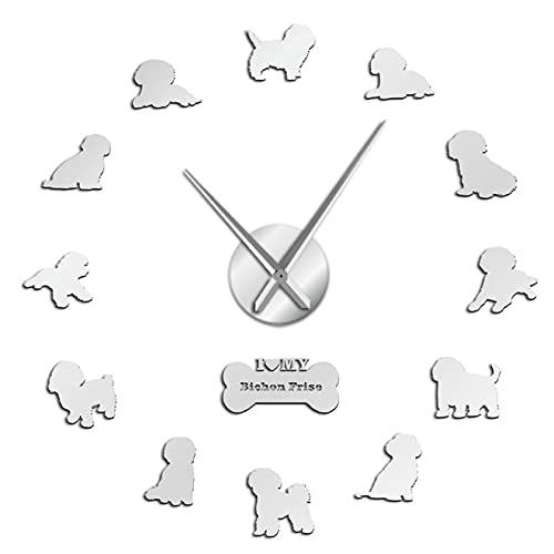 hufeng Reloj de Pared Bichon Frise Reloj de Pared Grande con Efecto Espejo 3D Bichón Tenerife Reloj de Movimiento silencioso sin tictac Reloj de Pared Bichon À Poil Frisé