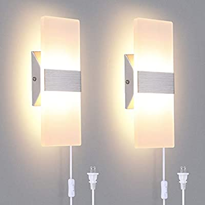 TRLIFE Modern Wall Sconces Set of 2, Plug in Wall Sconces 12W 3000K Warm White Acrylic Wall Sconce Lighting with On/Off Switch