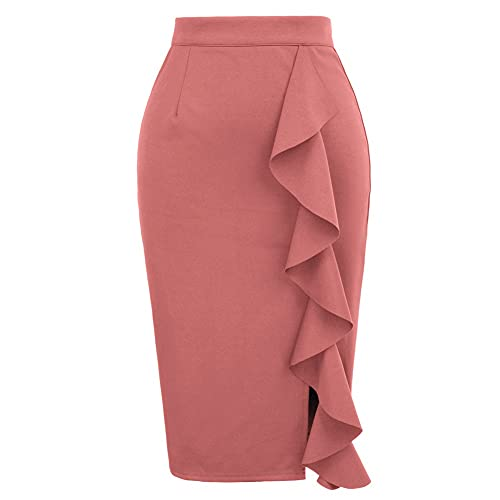 GRACE KARIN Jupe Crayon Femme Taille Haute Genou Longueur Chic et Elégant Vintage Sexy Bodycon Rose Foncé S