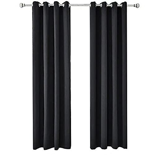 ANCLLO Juego de 2 paneles de cortinas opacas sólidas con aislamiento térmico, cortinas con ojales para puertas correderas de 152 x 225 cm, color negro