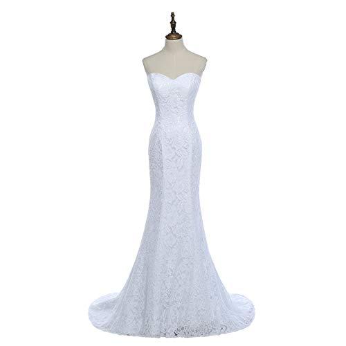 SIQINZHENG Women's Sweetheart Full Lace Beach Wedding Dress Mermaid Bridal Gown White