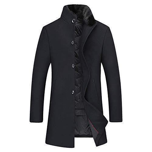NHX Mens Wollmantel mit Pelzkragen Geschäft Schlank Overcoat Stehkragen beiläufigen Wollmantel Einreiher Winter-Graben-Jacken,Black-185