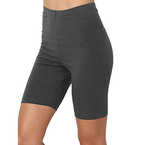 KUDICO Damen Leggings Knielang Kurze Sport Leggings Blickdicht Hohe Taille mit Bauchkontrolle Einfarbig Elastische Radlerhose Shorts(#Grau,XXL)