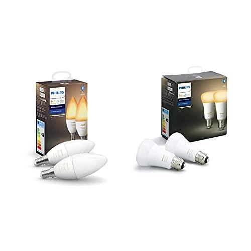 Philips Hue Bombilla inteligente, E14, Luz cálida y fría + Bombilla inteligente, E27, Luz cálida y...