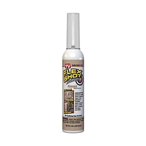Flex Shot Rubber Adhesive Sealant Caulk, 8-oz, Almond (Mildew Resistant)