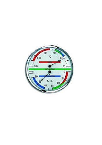 Sauna thermomètre-hygromètre carrée en laiton chromé