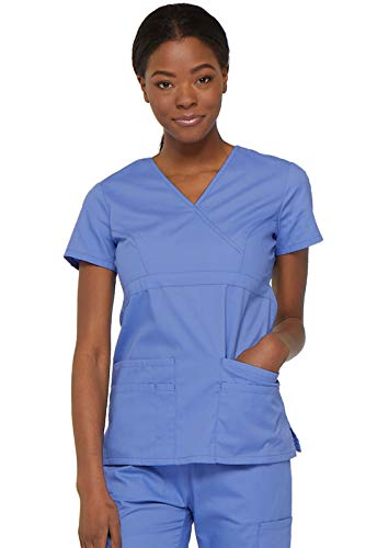 Dickies Damen EDS Signature Series Scrubs Junior-Fit Mock-Wrap Top - Blau - X-Groß