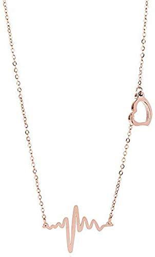 LKLFC Collar de Mujer, Collar de Latido del corazón para Hombre, Collar de Cadena de clavícula Femenina, Accesorios Cortos, Colgante, Cadena Corta, Collar con Colgante, Regalo para niñas y niños