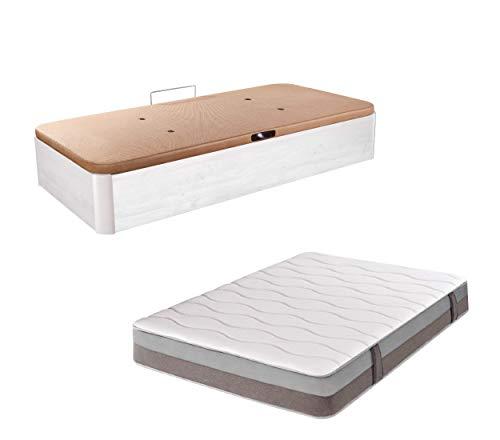 DHOME Pack Canape abatible tapizado 3D con Apertura Lateral Madera + Colchón viscografeno, Reversible (90x190 Ártico, 30mm Ap. Lateral + Colchón)