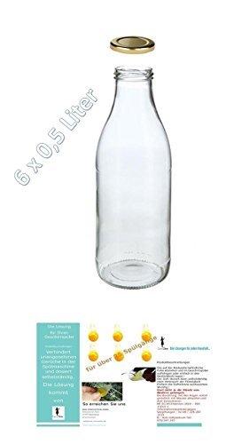 6 leere Glasflaschen 500ml MILCH Saftflaschen Weithals-Flaschen Einmachglas Essig- Öl Flasche Likörflaschen Schnapsflaschen Milchflaschen 0,5 Liter l + + Aktion 3 Minis ca. 25 Spülgänge pro Stück