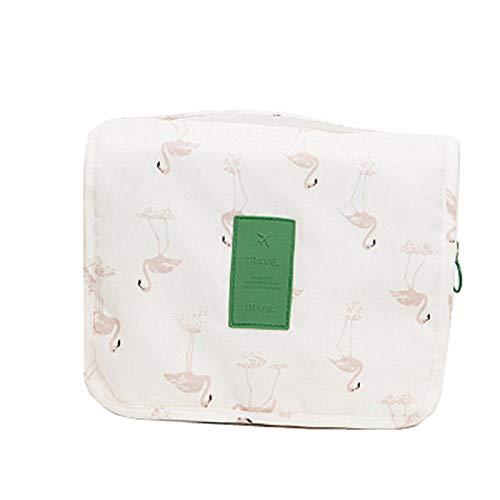 Bolsas de Viaje Artículos Productos de Lavado Almacenamiento Portátil Mujeres Hombres Cuarto de baño Colgante Bolsas de Lavado de Almacenamiento cosmético Organizador Bolsa-Flamenco Blanco