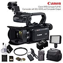 Canon XA15 Compact Full HD Camcorder 2217C002 with 64GB Memory Card, Extra Battery and Charger, UV Filter, LED Light, Case and More. - Starter Bundle from Canon