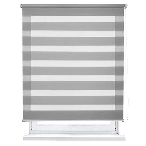 MERCURY TEXTIL Estor Enrollable de Doble Capa, Noche y Día, translúcido y oscurecido (160 x 180 cm, Gris)